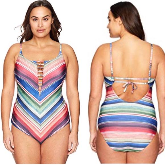 df61c471b2 Becca West Village One Piece Plus Swimsuit Striped